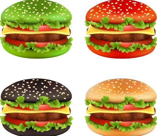 Colored hamburger illustration vectors