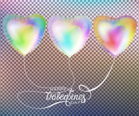 Colored heart shaped air balloons Valentines Day vector
