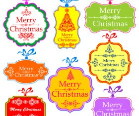 Colored retro xmas labels vectors set