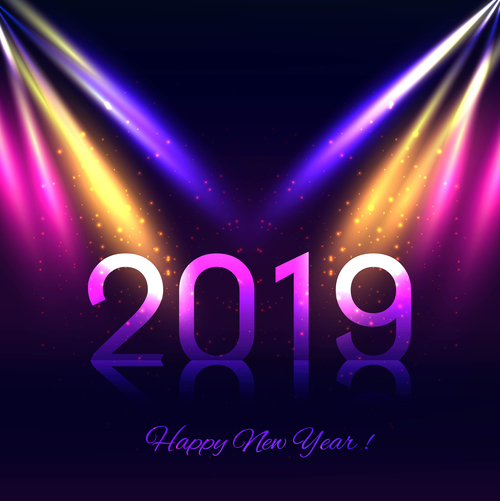 Colorful 2019 new year background with stars light vecotr
