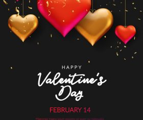 Confetti with valentines day and heart decor vector 01