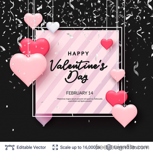 Confetti with valentines day and heart decor vector 02