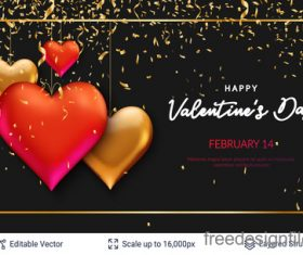 Confetti with valentines day and heart decor vector 03
