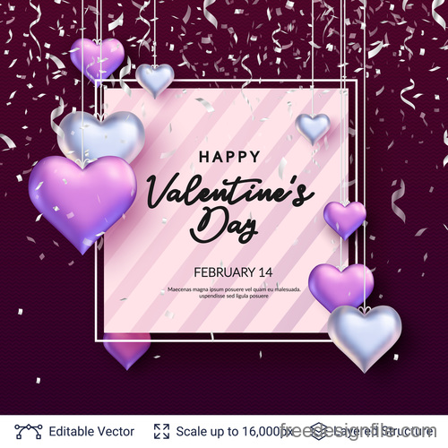 Confetti with valentines day and heart decor vector 05