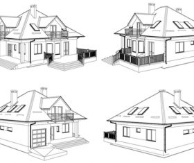 Construction architecture drawings template vector 01