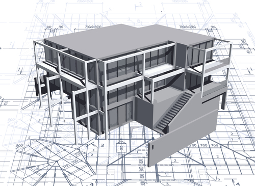 Construction architecture drawings template vector 04