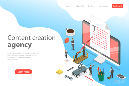 Content creation agency business template vector
