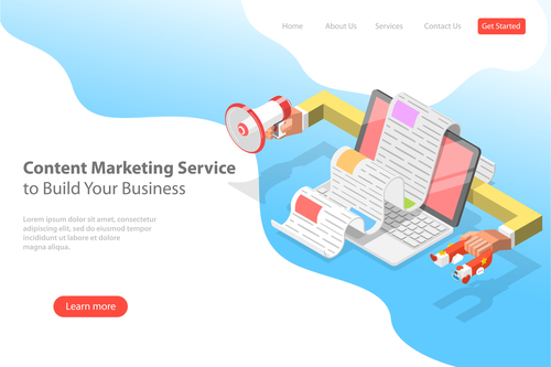 Content marketing service business template vector