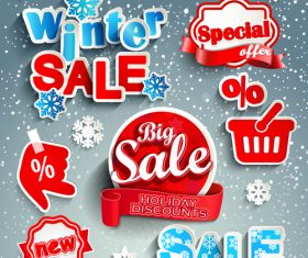 Creative winter sale sticker vector material