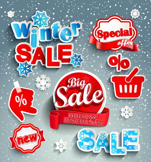 Creative winter sale sticker vector material