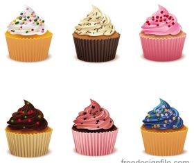 Cupcake illustration design vectors 09