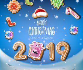 Cute 2019 new year and christmas card vector