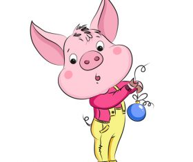 Cute cartoon pig 2019 design vector 01