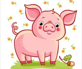 Cute cartoon pig 2019 design vector 02