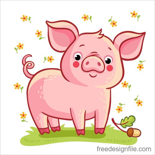 Cute cartoon pig 2019 design vector 02