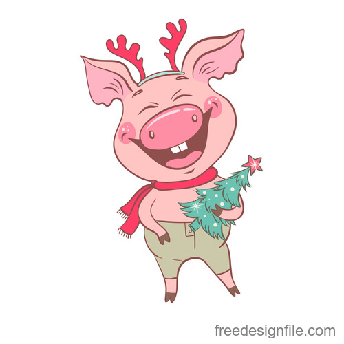 Cute cartoon pig 2019 design vector 04