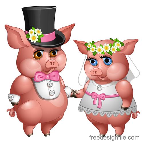 Cute cartoon pig 2019 design vector 05