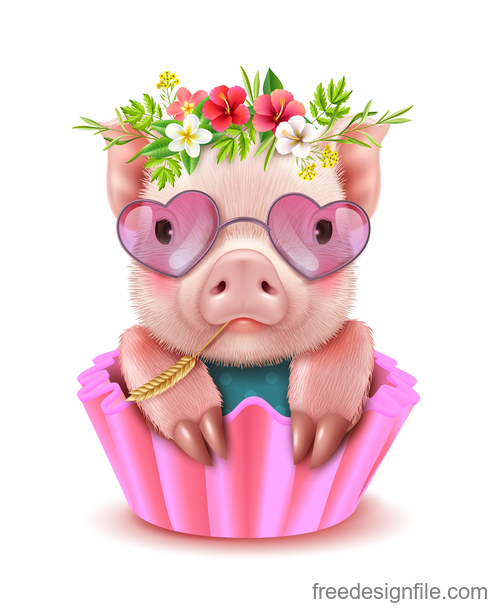 Cute cartoon pig 2019 design vector 07