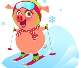 Cute pig skiing vector