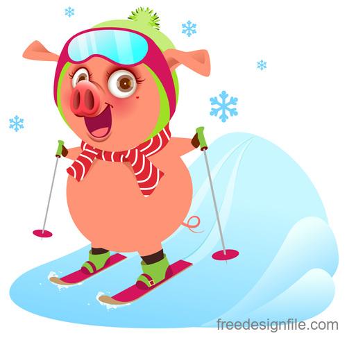 Cute pig skiing vector
