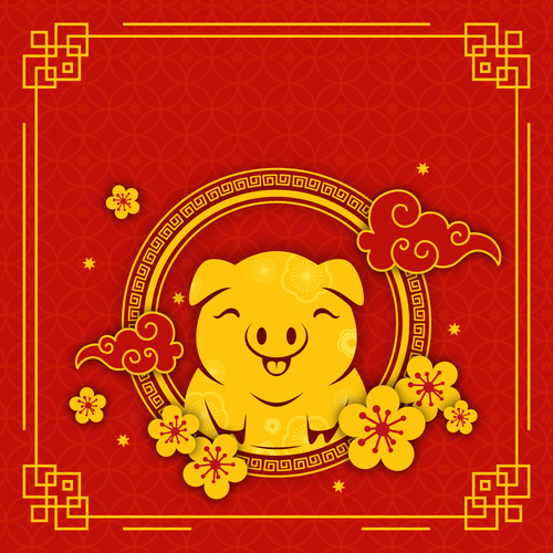 Cute pig with chinese new year 2019 vector