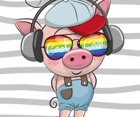 Cute pig with music cartoon vector