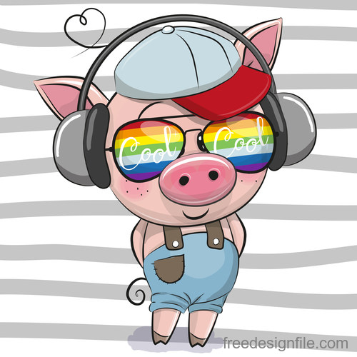 Cute pig with music cartoon vector