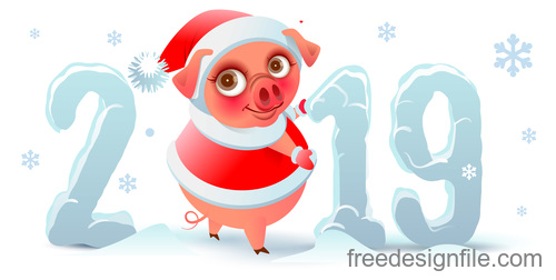 Cute pig with winter 2019 new year vector