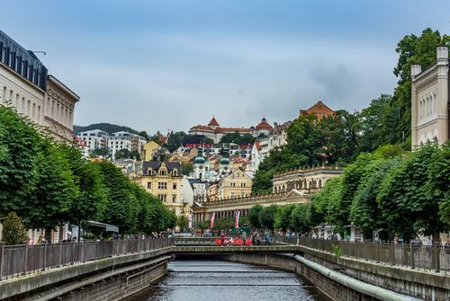 Czech Karlovy Vary cityscape Stock Photo 01