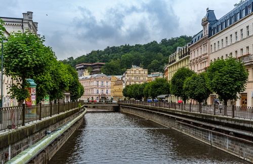 Czech Karlovy Vary cityscape Stock Photo 08