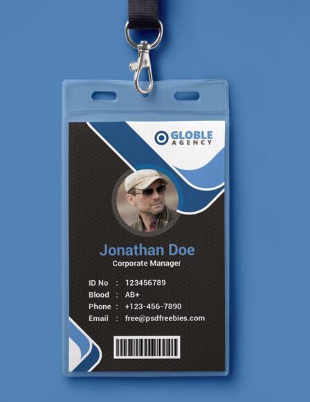 Dark Blue Office Id Card Psd Template
