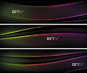 Dark abstract banners template vectors set 01