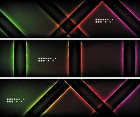Dark abstract banners template vectors set 02