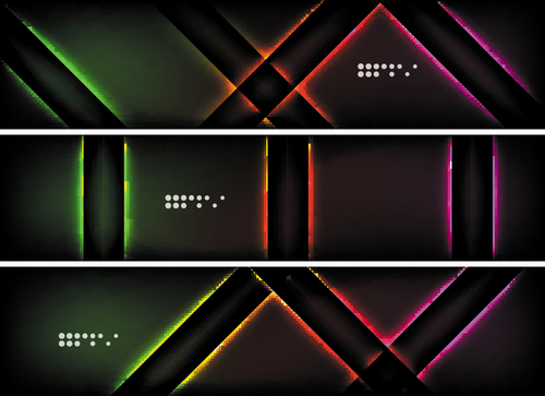 Dark abstract banners template vectors set 02