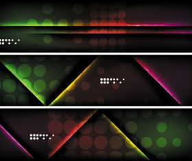 Dark abstract banners template vectors set 03