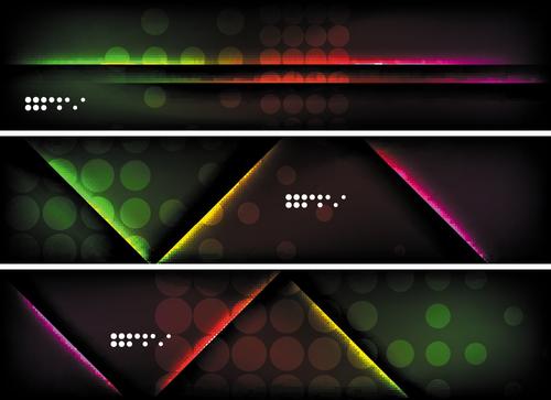 Dark abstract banners template vectors set 03