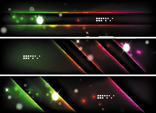 Dark abstract banners template vectors set 05