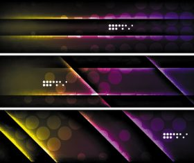 Dark abstract banners template vectors set 06