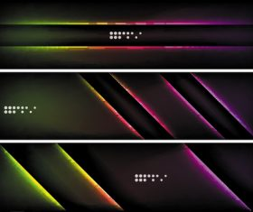 Dark abstract banners template vectors set 07