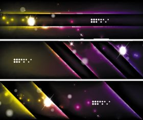 Dark abstract banners template vectors set 08