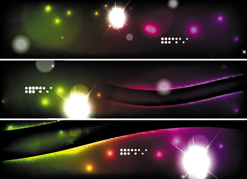 Dark abstract banners template vectors set 09