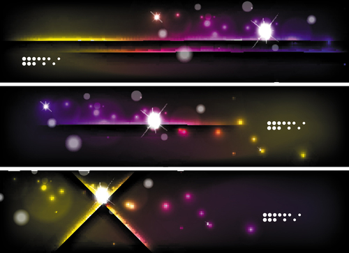 Dark abstract banners template vectors set 10