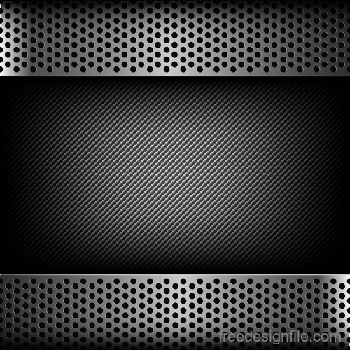 Dark and black carbon fiber with metal texture vector background 02
