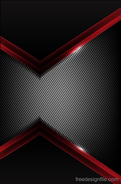 Dark carbon fiber and red overlap background vector 01
