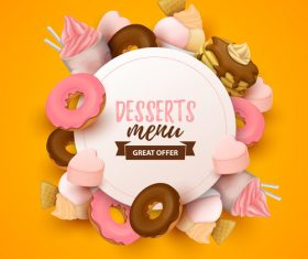 Desserts menu cover template design vector 01