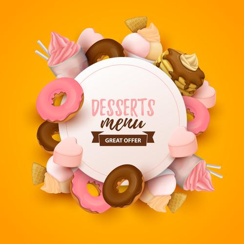 Desserts menu cover template design vector 01