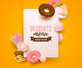 Desserts menu cover template design vector 02