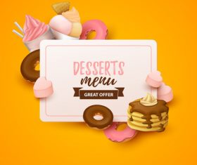 Desserts menu cover template design vector 03