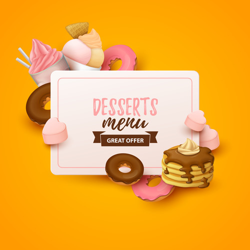 Desserts menu cover template design vector 03
