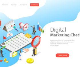 Digital marketing checklist business template vector